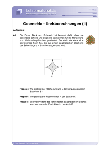 Vorschaugrafik für das  Arbeitsblatt Geometrie – Kreisberechnungen (II) von Lehrermaterial.de