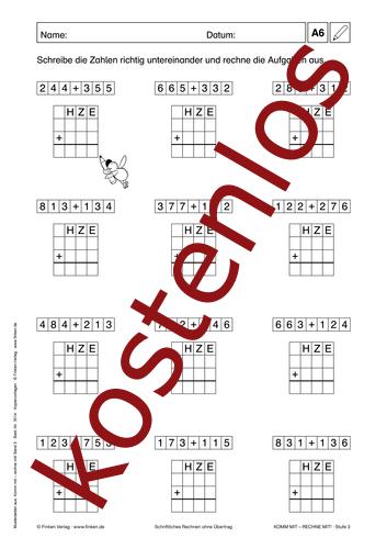 Vorschaugrafik 1 für das kostenlose Arbeitsblatt Komm mit - Rechne mit: Schriftlich Rechnen (IV) von Lehrermaterial.de.