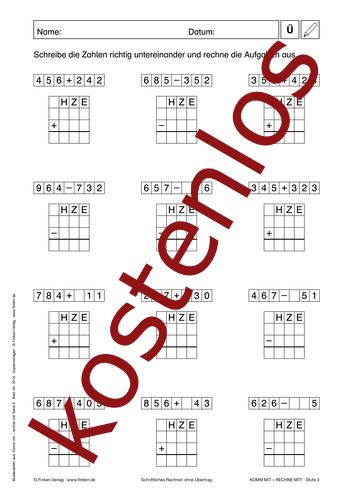 Vorschaugrafik 1 für das kostenlose Arbeitsblatt Komm mit - Rechne mit: Schriftlich Rechnen (V) von Lehrermaterial.de.
