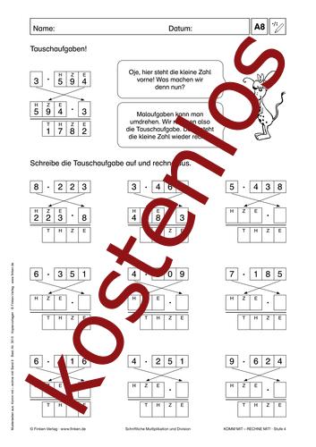 Vorschaugrafik 1 für das kostenlose Arbeitsblatt Komm mit - Rechne mit: Multiplikation und Division (II) von Lehrermaterial.de.