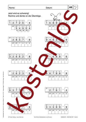 Vorschaugrafik 1 für das kostenlose Arbeitsblatt Komm mit - Rechne mit: Multiplikation und Division (III) von Lehrermaterial.de.