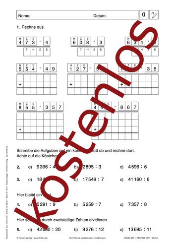 Vorschaugrafik 1 für das kostenlose Arbeitsblatt Komm mit - Rechne mit: Multiplikation und Division (V) von Lehrermaterial.de.