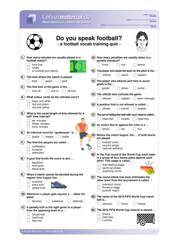 Vorschaugrafik 1 für das  Arbeitsblatt Do you speak football? von Lehrermaterial.de.