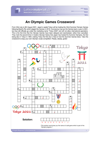 Vorschaugrafik 1 für das  Arbeitsblatt An Olympic Games Crossword von Lehrermaterial.de.