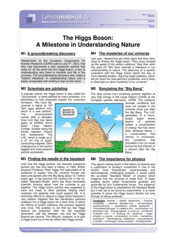 Vorschaugrafik 1 für das  Arbeitsblatt The Higgs Boson: A Milestone in Understanding Nature  von Lehrermaterial.de.