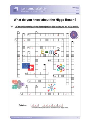 Vorschaugrafik für das  Arbeitsblatt What do you know about the Higgs Boson? von Lehrermaterial.de