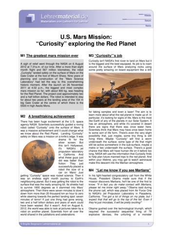 Vorschaugrafik 1 für das  Arbeitsblatt U.S. Mars Mission: Curiosity exploring the Red Planet von Lehrermaterial.de.