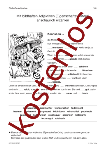 Kostenloses Arbeitsblatt Bildhafte Adjektive Lehrermaterial De