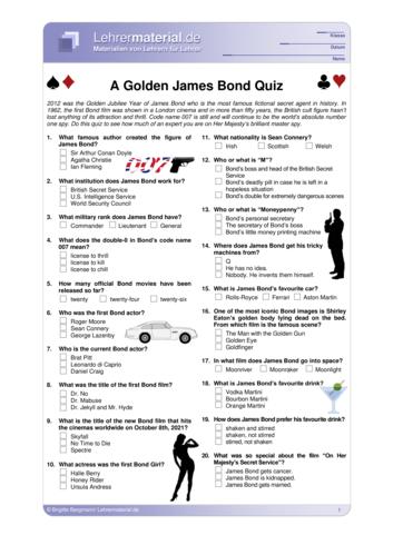 Vorschaugrafik 1 für das  Arbeitsblatt A Golden James Bond Quiz von Lehrermaterial.de.