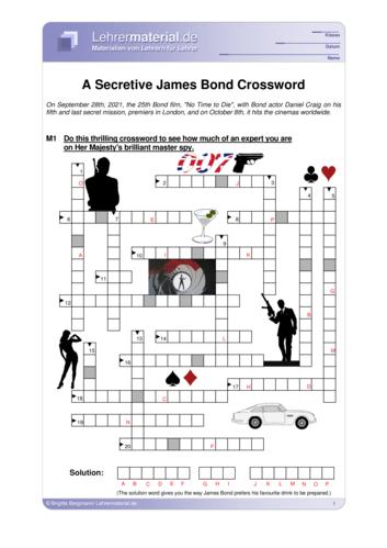 Vorschaugrafik 1 für das  Arbeitsblatt A Secretive James Bond Crossword von Lehrermaterial.de.
