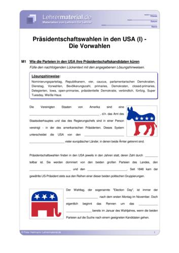 Vorschaugrafik für das  Arbeitsblatt Präsidentschaftswahlen in den USA (I) - Die Vorwahlen von Lehrermaterial.de