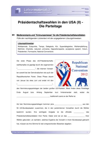 Detailseite für das  Arbeitsblatt Präsidentschaftswahlen in den USA (II) - Die Parteitage öffnen