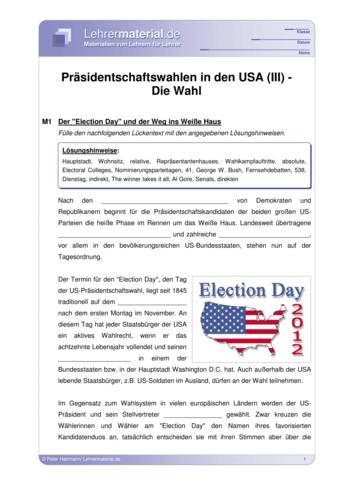 Vorschaugrafik für das  Arbeitsblatt Präsidentschaftswahlen in den USA (III) - Die Wahl von Lehrermaterial.de