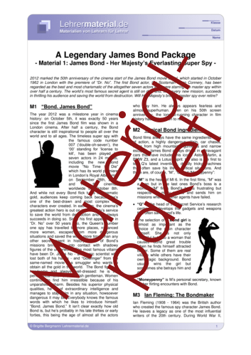 Detailseite für das  Arbeitsblatt A Legendary James Bond Package öffnen