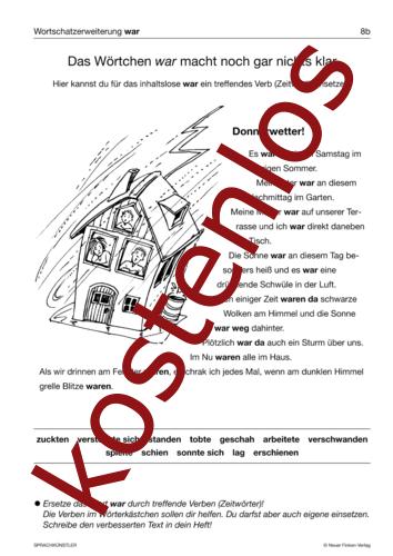 Vorschaugrafik 1 für das kostenlose Arbeitsblatt Das Wörtchen 'war' macht noch gar nichts klar von Lehrermaterial.de.
