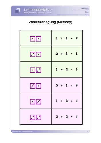 Vorschaugrafik 1 für das  Arbeitsblatt Zahlenzerlegung (Memory) von Lehrermaterial.de.