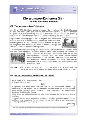 Vorschaugrafik 1 für das  Arbeitsblatt Die Wannsee-Konferenz (II) - Die erste Phase des Holocaust von Lehrermaterial.de.