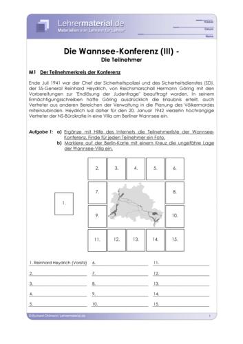 Vorschaugrafik 1 für das  Arbeitsblatt Die Wannsee-Konferenz (III) - Die Teilnehmer  von Lehrermaterial.de.