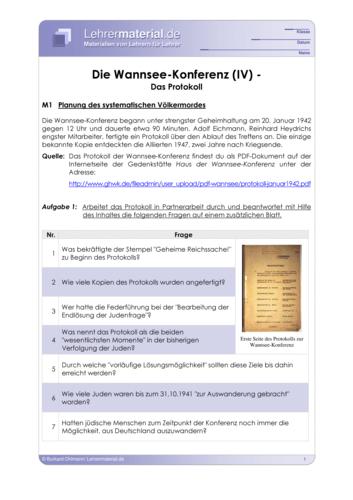 Vorschaugrafik 1 für das  Arbeitsblatt Die Wannsee-Konferenz (IV) - Das Protokoll  von Lehrermaterial.de.