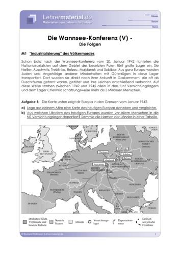 Vorschaugrafik 1 für das  Arbeitsblatt Die Wannsee-Konferenz (V) - Die Folgen von Lehrermaterial.de.