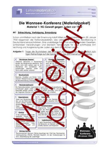Vorschaugrafik 1 für das  Arbeitsblatt Die Wannsee-Konferenz (Materialpaket) von Lehrermaterial.de.