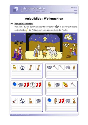 Vorschaugrafik 1 für das  Arbeitsblatt Anlautbilder: Weihnachten (mit Anlauttabelle) von Lehrermaterial.de.