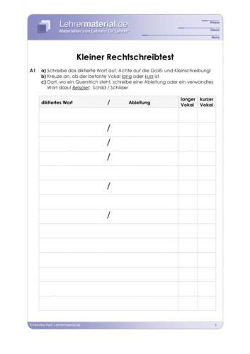 Vorschaugrafik 1 für das  Arbeitsblatt Kleiner Rechtschreibtest von Lehrermaterial.de.