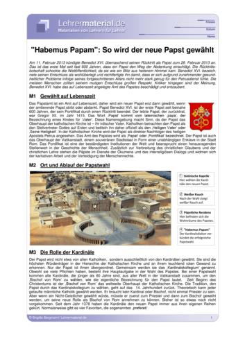 Vorschaugrafik 1 für das  Arbeitsblatt Habemus Papam: So wird ein neuer Papst gewählt von Lehrermaterial.de.