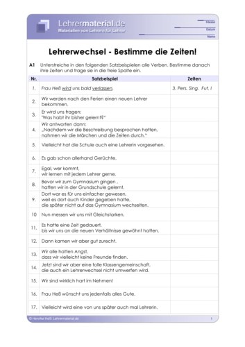 Vorschaugrafik 1 für das  Arbeitsblatt Lehrerwechsel - Bestimme die Zeiten! von Lehrermaterial.de.