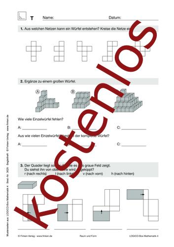 Vorschaugrafik 1 für das kostenlose Arbeitsblatt LOGICO-Box: Raum und Form (II) von Lehrermaterial.de.
