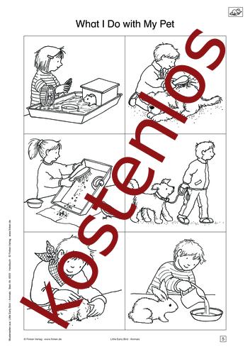 Vorschaugrafik 1 für das kostenlose Arbeitsblatt Little Early Bird - What I Do with My Pet (II) von Lehrermaterial.de.