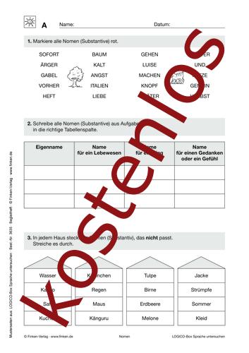 Vorschaugrafik 1 für das kostenlose Arbeitsblatt LOGICO-Box: Nomen von Lehrermaterial.de.