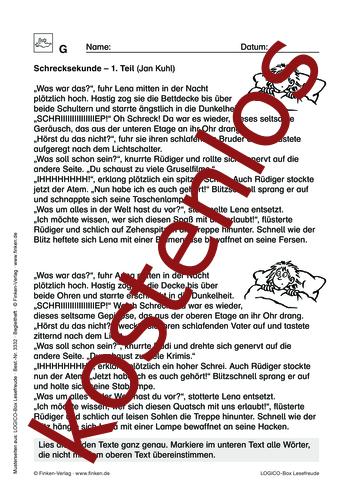 Vorschaugrafik 1 für das kostenlose Arbeitsblatt LOGICO-Box: Schrecksekunde von Lehrermaterial.de.