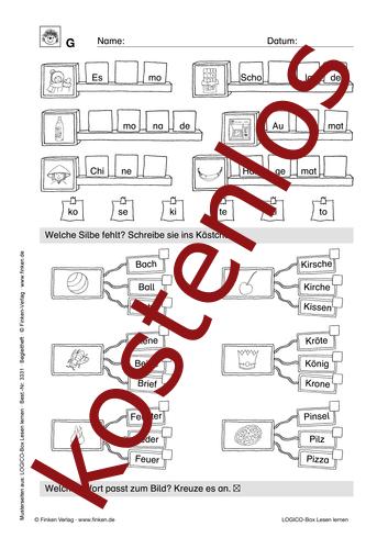 Vorschaugrafik 1 für das kostenlose Arbeitsblatt LOGICO-Box: Silben von Lehrermaterial.de.