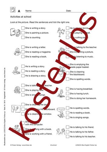 Vorschaugrafik 1 für das kostenlose Arbeitsblatt LOGICO-Box: Activities at school von Lehrermaterial.de.