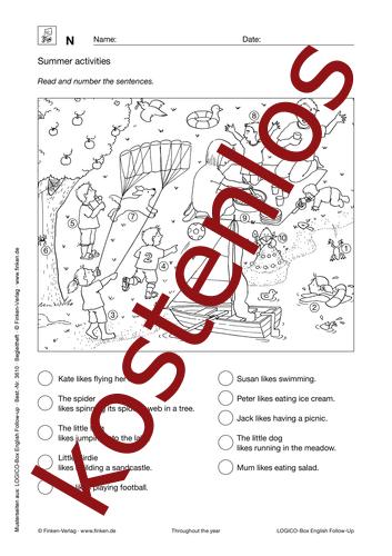 Vorschaugrafik 1 für das kostenlose Arbeitsblatt LOGICO-Box: Summer activities von Lehrermaterial.de.