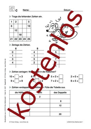 Vorschaugrafik 1 für das kostenlose Arbeitsblatt LOGICO-Box: Welche Zahlen fehlen? von Lehrermaterial.de.