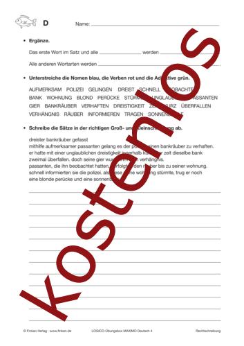 Vorschaugrafik 1 für das kostenlose Arbeitsblatt LOGICO-Box: Wortarten von Lehrermaterial.de.