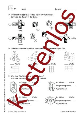 Vorschaugrafik 1 für das kostenlose Arbeitsblatt LOGICO-Box: Würfelbilder von Lehrermaterial.de.
