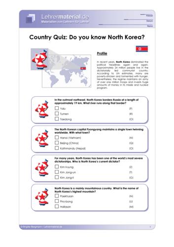 Vorschaugrafik 1 für das  Arbeitsblatt Country Quiz: Do you know North Korea? von Lehrermaterial.de.