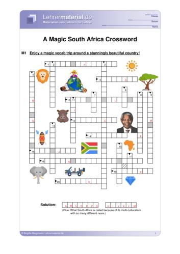 Vorschaugrafik 1 für das  Arbeitsblatt A Magic South Africa Crossword von Lehrermaterial.de.