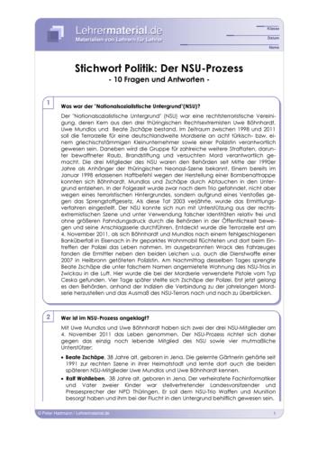 Vorschaugrafik 1 für das  Arbeitsblatt Stichwort Politik: Der NSU-Prozess von Lehrermaterial.de.