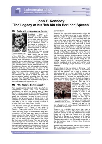 Vorschaugrafik 1 für das  Arbeitsblatt John F. Kennedy: The Legacy of his `Ich bin ein Berliner´ Speech von Lehrermaterial.de.