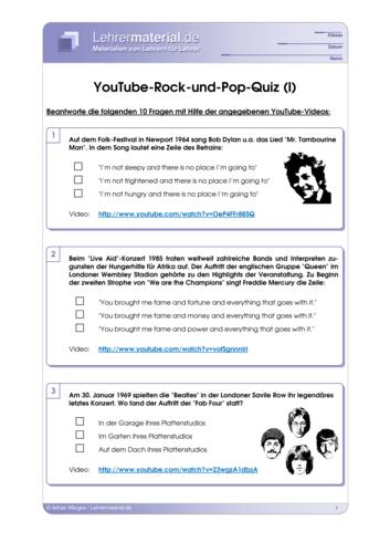 Vorschaugrafik für das  Arbeitsblatt YouTube-Rock-und-Pop-Quiz (I) von Lehrermaterial.de