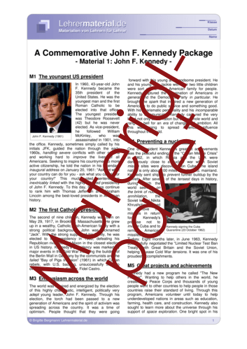 Vorschaugrafik 1 für das  Arbeitsblatt A Commemorative John F. Kennedy Package von Lehrermaterial.de.