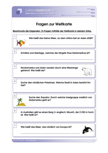 Vorschaugrafik für das  Arbeitsblatt Fragen zur Weltkarte von Lehrermaterial.de