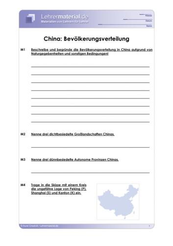 Vorschaugrafik 1 für das  Arbeitsblatt China: Bevölkerungsverteilung von Lehrermaterial.de.