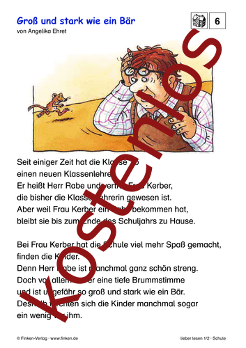 Vorschaugrafik 1 für das kostenlose Arbeitsblatt lieber lesen: Groß und stark wie ein Bär von Lehrermaterial.de.