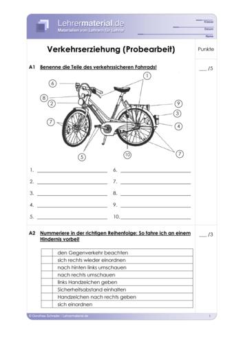 Vorschaugrafik 1 für das  Arbeitsblatt Verkehrserziehung (Probearbeit) von Lehrermaterial.de.