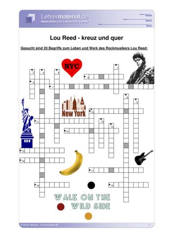 Vorschaugrafik 1 für das  Arbeitsblatt Lou Reed - kreuz und quer von Lehrermaterial.de.